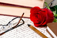 Image with contract,glasses, pen and red rose
